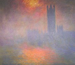 Claude Monet made several trips to London between 1899 and 1901, during which he painted views of the Thames and Houses of Parliament which show the sun struggling to shine through London's smog-laden atmosphere.