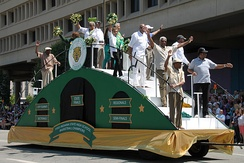 The 1955 Crispus Attucks High School State Champion Basketball Team were the grand marshals in 2015.