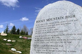 "John Denver Memorial stone with the lyrics to ""Rocky Mountain High"" in Rio Grande Park, Aspen, Colorado[57]"