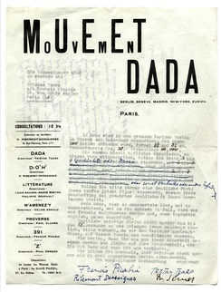 Dadaglobe solicitation form letter signed by Francis Picabia, Tristan Tzara, Georges Ribemont-Dessaignes, and Walter Serner, c. week of November 8, 1920. This example was sent from Paris to Alfred Vagts in Munich.