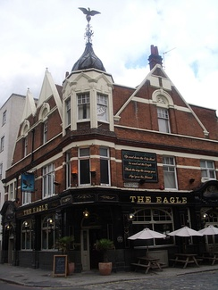 The Eagle, City Road, Islington, London, displaying the nursery rhyme line about the pub's predecessor[51]