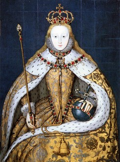 Elizabeth I in her coronation robes, patterned with Tudor roses and trimmed with ermine