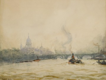 An Impressionist view of St Paul's from the River by Ernest Dade (before 1936)