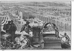 The erection of the tabernacle and the Sacred vessels, as in Exodus 40:17-19; from the 1728 Figures de la Bible