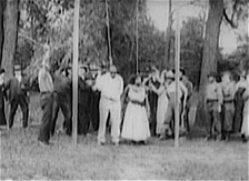 A scene from the 1919 movie, Within Our Gates, showing the lynching of film characters, Jasper Landry and his wife