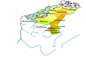 "Pagi i.e. ""shires"" of Flanders, reunion of the former marquisate of Flanders, showing all the lands subsequently reclaimed from the sea."