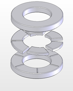 Exploded view of a Michell type thrust bearing. Note, each sector shaped pad can pivot on the ridges on the lower plate