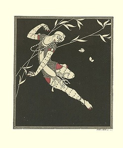 The exoticism of the Ballets Russes had a strong influence on early Deco.  A drawing of the dancer Vaslav Nijinsky by Paris fashion artist Georges Barbier (1913)