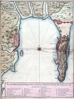 A map of the Bay of Gibraltar, c.1750, showing Algeciras (left) and Gibraltar; there is roughly 10 km (5.4 nmi; 6.2 mi) of open water between them.