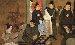A Song dynasty Chinese painting Night Revels of Han Xizai showing scholars in scholar's robes and musicians dressed in a Hanfu variant, 12th-century remake of a 10th-century original by Gu Hongzhong.