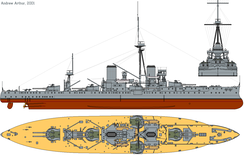 3-view drawing of HMS Dreadnought in 1911, with QF 12 pdr guns added