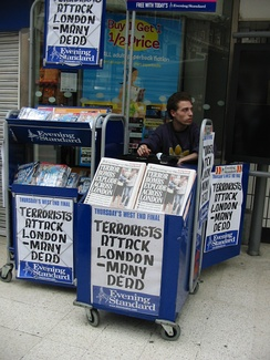 Headlines outside Waterloo station