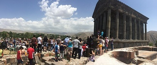 People gathered on the occasion of a public ceremony at the Temple of Garni.