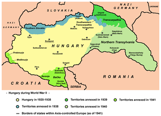 Map of territories reassigned to Hungary in 1938-1941 including Northern Transylvania and Transcarpathia