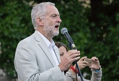 Corbyn at a leadership election rally in August 2016