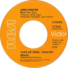 John Denver with Fat City take me home country roads 1971 A-side US vinyl.jpg