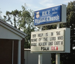 Church sign indicating that the congregation uses the Authorized King James Version of 1611