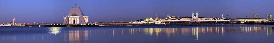 A panoramic view of Kazan Kremlin, Vernicle temple and Kazanka river right bank