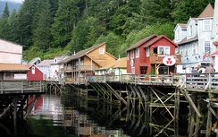 Looking down Creek Street, immediately outside of Ketchikan's downtown near the mouth of Ketchikan Creek.  Creek Street, along with a block of Fourth Avenue in Fairbanks, were Alaska's two significant red-light districts until the passage of the Anti-Crib Laws in the early 1950s.