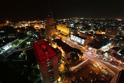 Downtown Kinshasa at night.