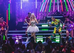 "Minogue and her dancers perform ""All the Lovers"" during one of the singer's Kylie Christmas concerts in 2015."