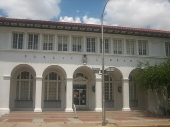 The Eagle Pass public library is located on Main Street east of the Maverick County Courthouse.