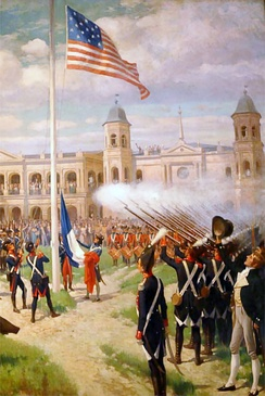 Flag raising in the Place d'Armes of New Orleans, marking the transfer of sovereignty over French Louisiana to the United States, December 20, 1803, as depicted by Thure de Thulstrup