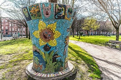 Mosaic tree art by Pavee Point at Mountjoy Square, Dublin