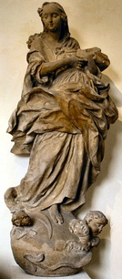 Sandstone statue Maria Immaculata by Fidelis Sporer, around 1770, in Freiburg, Germany