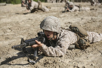 Recruits learn marksmanship fundamentals and must qualify with the M16 rifle to graduate
