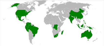 The 17 countries identified as Megadiverse by CI.