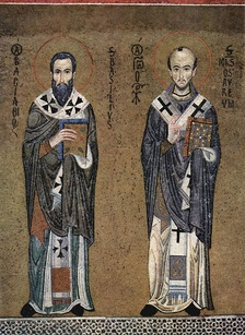 Icon of Ss. Basil the Great (left) and John Chrysostom, ascribed authors of the two most frequently used Eastern Orthodox Divine Liturgies, c. 1150 (mosaic in the Palatine Chapel, Palermo)