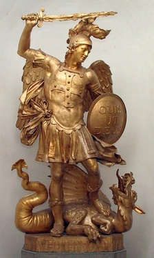 The Archangel Michael, a member of the host of divine beings who attend God in heaven, defeating Satan, the dragon of chaos.[30]