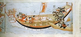 Japanese samurai attacking a Mongol ship, 13th century
