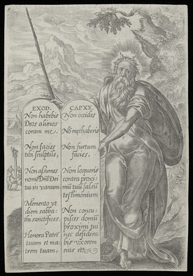 Print of Moses showing the Ten Commandments. Made at the end of the sixteenth century