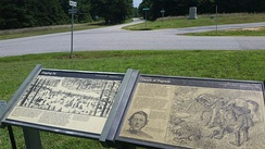 National Park Service markers for the Battle of Five Forks, looking south