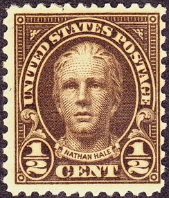 Nathan Hale appeared on U.S. postage stamps issued in 1925 and 1929. The likeness is from a statue by Bela Lyon Pratt.