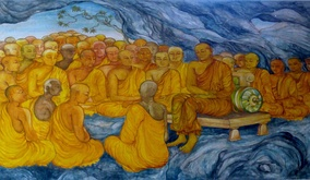A depiction of the supposed First Buddhist council at Rajgir. Communal recitation was one of the original ways of transmitting and preserving Early Buddhist texts.