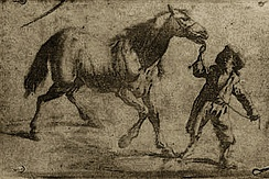 The earliest known surviving product of Nicéphore Niépce's heliography process, 1825. It is an ink on paper print and reproduces a 17th-century Flemish engraving showing a man leading a horse.