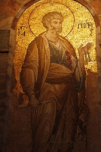 Medieval mosaic of Saint Peter in the Chora Church, Istanbul