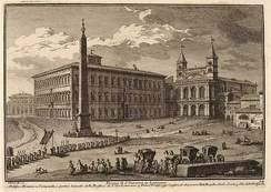 The Lateran after its reconstruction, from an 18th-century engraving by Giuseppe Vasi