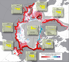 Map from the U.S. Geological Survey shows projected changes in polar bear habitat from 2001 to 2010 and 2041 to 2050. Red areas indicate loss of optimal polar bear habitat; blue areas indicate gain.