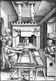 Early wooden printing press, depicted in 1520.
