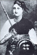 Lakshmibai, the Rani of Jhansi, one of the principal leaders of the rebellion who earlier had lost her kingdom as a result of the Doctrine of Lapse.
