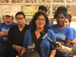 Rashida Tlaib at her campaign headquarters in 2018