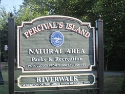 Percival's Island section of James River Heritage Trail in Downtown Lynchburg
