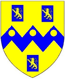 Arms of Rolle: Or, on a fesse dancetté between three billets azure each charged with a lion rampant of the first three bezants