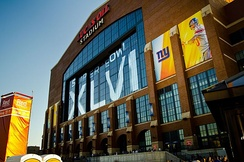 Lucas Oil Stadium during Super Bowl XLVI. The stadium is home to the Indianapolis Colts and Indy Eleven.