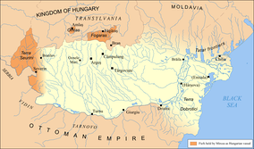 According to one theory, the region's name originated from the Wallachian rule during the late 14th century (1390 map).