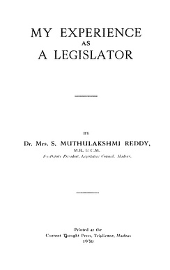 Title page of My Experiences as a Legislator (1930)